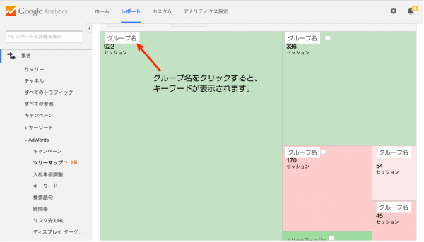 GoogleアナリティクスのAdWordsツリーマップ2